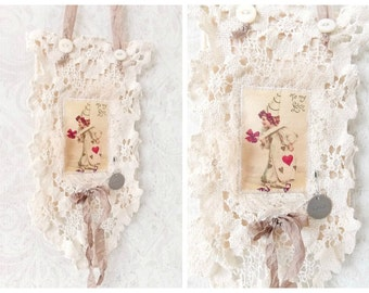 Shabby Valentines Day Mixed Media Fabric Collage Art Wall Hanger
