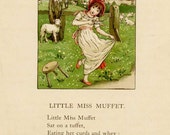Kate Greenaway Print, Antique Victorian Original Kate Greenaway Illustration Print, Little Miss Muffet Nursery Rhyme, 1890's Vintage