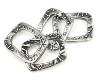 Dark Antique Silver Rectangle Ring Charms Silver Metal Rings TierraCast LARGE JARDIN RECTANGLE Link Bohemian Charms Jewelry Making (p1357)