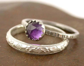 Amethyst Stacking Ring Set -  Sterling Silver