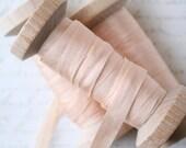 "Champagne Silk Ribbon Spool, Hand Dyed Silk Ribbon Champagne, 5 yards, 1/4"" Wide Silk Ribbon, Silk Ribbon"