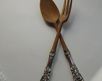 Reed and Barton Francis I Salad Server Set 2 Piece Wood Bowl Sterling Silver