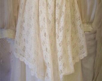 Vintage 1970's Wedding Dress Prairie Wedding Victorian Revival Ecru White Cotton Blend with Lace