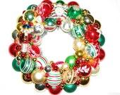 Vintage Ornament Christmas Wreath German Tinsel Shiny Brite Holiday Nutcracker Glass
