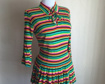 1960s Chic Neon Stripe Jersey Bow Blouse Vintage