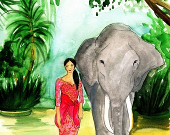 A Girl and Her Elephant Fashion Illustration Print