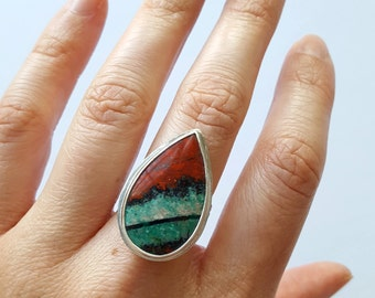 Sonora Sunrise Ring Unique Stone Ring Teardrop Ring Sterling Silver Ring Landscape Ring Line Ring Red Ring Green Ring Band Ring