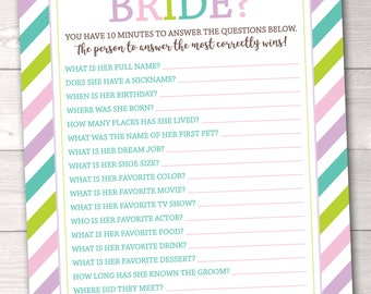 Printable Bridal Shower Game Instant Download PDF Soft Stripes How Well Do You Know the Bride Bridal Shower Game