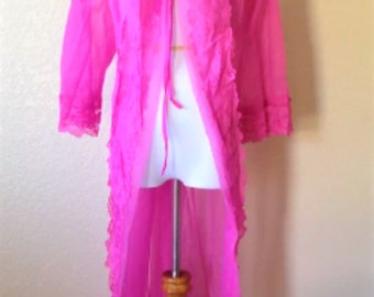 Sexy Sheer Vintage House Robe By Deena In Hot Pink