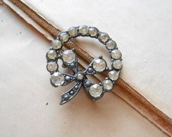 four leaf clover rhinestone brooch - vintage antique rhinestone c clasp brooch