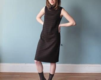 turtleneck sleeveless dress | brown black sweater dress | 1990s | small - medium