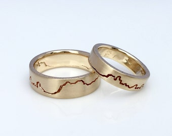 Mountain Ring Set, 8mm & 6mm band, Handmade with Sterling Silver, Palladium, 14k or 18k White and Yellow Gold, Platinum Wedding Ring Set