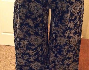Vintage Ladies Flocked Denim Jeans Size 6