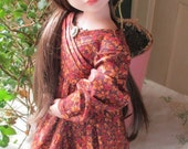 1830's Sarah Hale Dress in Autumn print made to fit 16 inch AGAT Dolls