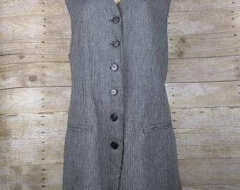 Vintage Black Gray Stripe Linen Blend Tunic Vest Misses 12 M L