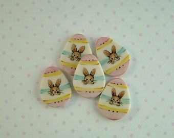 Bunny Stripe Button set of 5