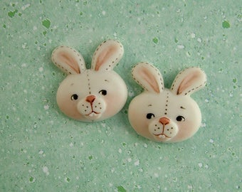 Light Brown Bunny Button set of 2