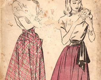 1940s Advance 4697 Vintage Sewing Pattern MIsses Flared Skirt, Gathered Skirt, Sash Size Waist 26