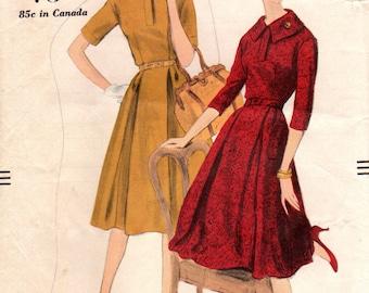 1950s Vogue 9809 Vintage Sewing Pattern Misses Dress, One Piece Dress, Full Skirt Dress Size 14 Bust 34