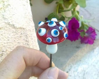 Fun Creepy Handmade Glass Eyeball Mushroom Plant Stake