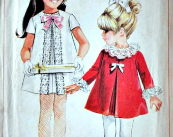 Vintage 60's Simplicity 7403 Sewing Pattern, Girls' Dress, Retro Party/Holiday Dress, Size 4, 1960's Fashion