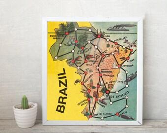 Instant Download -- Vintage map game -- Brazil