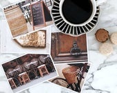 Paris Postcard Set, Brown Travel Postcards 4x6 Art Print, Affordable Art, Paris Decor, College Student Gift for Her, Stocking Stuffer
