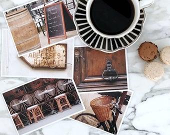 Paris Postcard Set, Brown Travel Postcards 4x6 Art Print, Affordable Art, Paris Decor, College Student Gift for Her, Stocking Stuffer