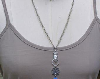Victorian Style Hand Necklace, Charm Necklace, Vintage Enamel Rose Pendant, Rosary Bead Necklace, Blue Flower Pendant