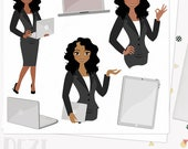 Woman business character clipart,  girl boss clipart set with african american skin tones (Dezi  L110)