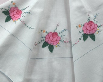 Small Appliqued Tablecloth with Roses Blue, White and Pink Hand Embroidery  Shabby Table Topper