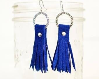 recycled, leather tassel earrings, blue earrings, boho earrings, earrings, dangle earrings, leather earrings, tassel earrings, stacylynnc