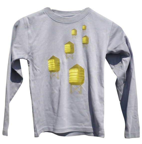 Water Towers Kids Long Sleeve Grey T-Shirt for Boys and Girls sizes