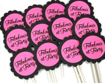40th Cupcake Toppers - Fabulous at 40, Black and Pink or Your Choice of Colors, Set of 12