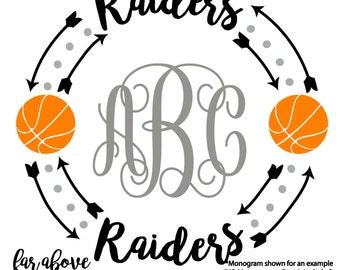 Raiders Basketball Monogram Wreath frame (monogram NOT included) - SVG, DXF, png, jpg digital cut file for Silhouette or Cricut