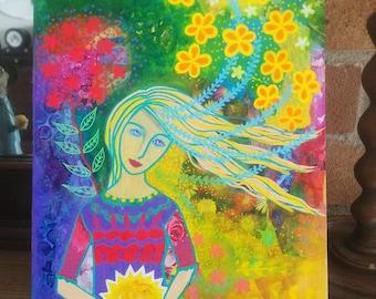 Holding Onto Sunshine, original mixed media painting on wood panel, 8 x 10ins, wall art, home decor