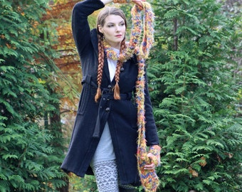 Fuzzy Fingerless Gloves and Soft Matching Scarf  Set Warm Long and Soft Orange Blue and Yellow Winter Accesory  Gift for Girls or Women