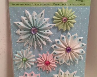 K & Company, Christmas, Scrapbook Embellishment, Dimensional Sticker, Cards, Tags, Crafting Supply, Medallions, Snowflakes, Pinwheels