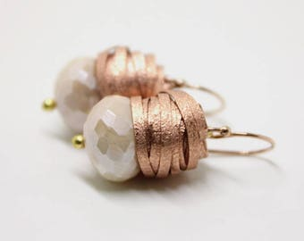 Personalized Mother's Day gift, Rose Gold earrings with big faceted Moonstone and cluster of Rose Gold wire, blush earrings,copper earrings