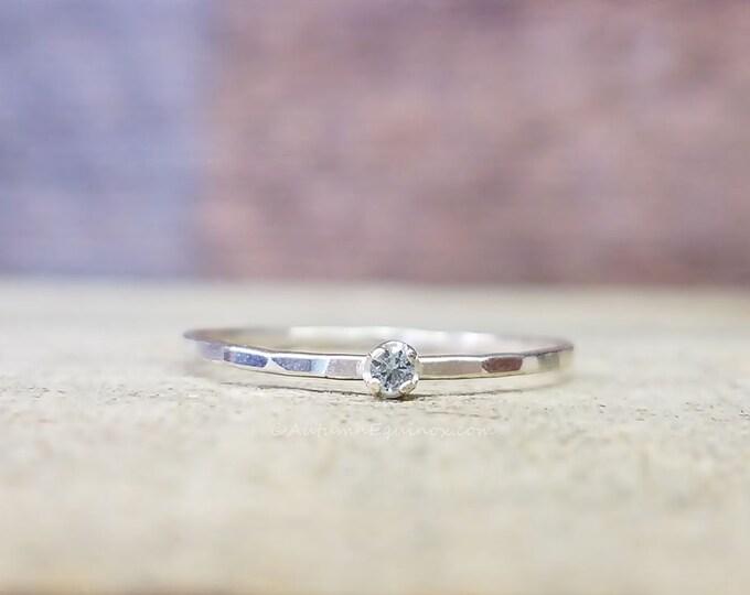 Aquamarine Gemstone Stacking Ring Sterling Silver