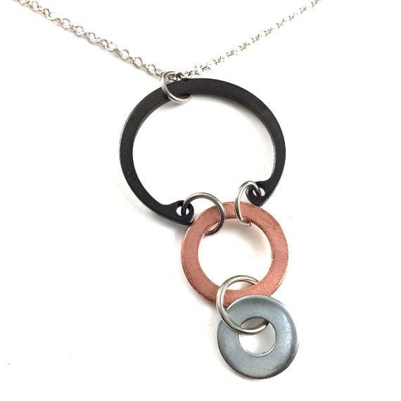 Pendant Necklace Mixed Metal Hardware Jewelry Industrial Jewelry Eco Friendly