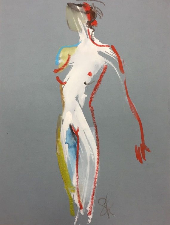 Nude painting- One minute pose 96.1 nude art, original, gesture sketch by Gretchen Kelly