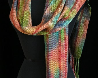 Handwoven Scarf Soft Hand Dyed Scarf Wrap Shawl Holiday Gift for Her Bamboo Scarf Long Scarf Colorful Scarf Fiber Art - Autumn Burst