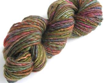 Handspun Yarn Hand Dyed Yarn BFL Wool Art Yarn Single Ply Sport to Worsted Weight 107 yards Super Soft Handmade in USA - Moss Garden