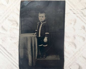 Antique Tintype Child Sixth Plate Studio Portrait Small Boy Photography Craft Supply Assemblage Mixed Media Scrapbooking 19th Century
