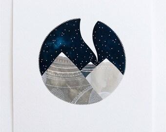 Reaching For The Sky 2 - Original Contemporary 8x10 Watercolour Painting - Mountain Art - by Natasha Newton