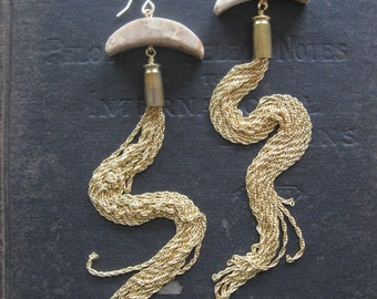 Moon Jellies - Long Gold Tassel Earrings - Brass Stone and Upcycled Bullet Casings