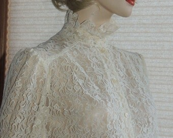 Romantic Shear Lace Victorian Style blouse by Teddi of California tag size 12