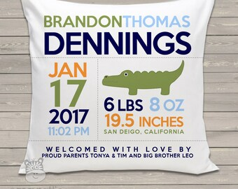 Birth announcement pillow alligator new baby gift custom throw pillow BP-001