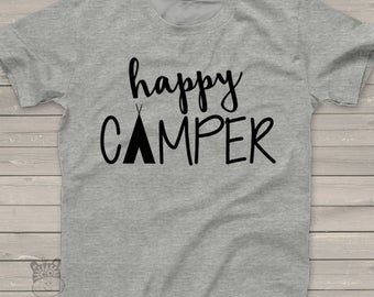 happy camper - kids camping shirt - fun vacation tshirt summer camp HCT